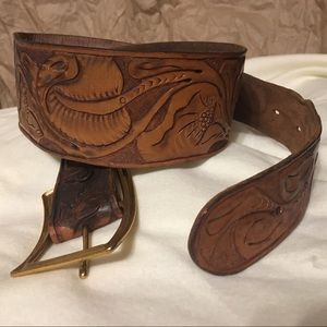 Rare Vintage Boho Waist Belt Hand Tooled Leather
